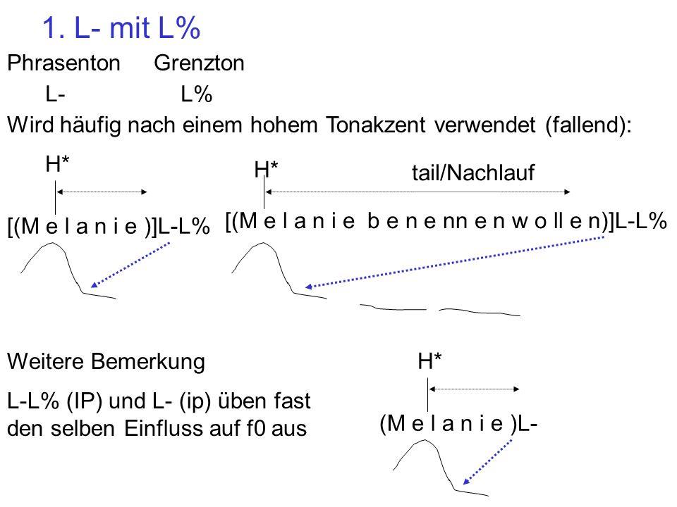 1. L- mit L% Phrasenton Grenzton L- L% [(M e l a n i e )]L-L%